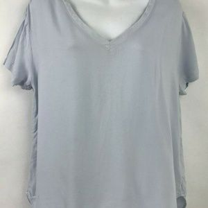 Cloth & Stone Blue Soft V-Neck Short Sleeve Top